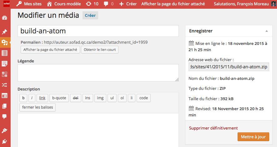 L'adresse Web d'un média se trouve dans la boite Enregistrer de l'édition d'un média.